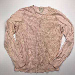 LOFT Blush Pink Lace Front Cardigan Sweater Sz M